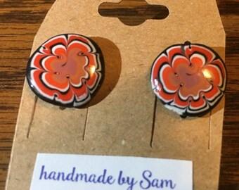 Swirl Earrings . Posts . Polymer Clay