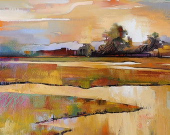 Abstract Landscape Canvas Print • Contemporary Landscape & Seascape Painting Reproduction • MILL CREEK North EAST • Abstract Beach Art