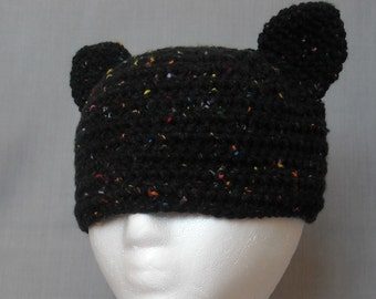 crocheted black cat beanie with attached ears