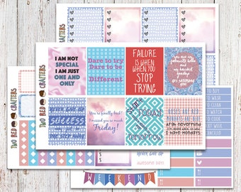 Motivational and Funny Quotes II (Pantone: Rose Quartz & Serenity) Planner Sticker Kit for Erin Condren Vertical Life Planner