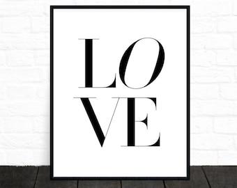 Love Printable, Love Print, Typographic Wall Art, Modern Minimalist, Black and White, Simple Art, Printable Wall Art, Downloadable Art Print