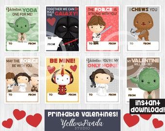 Star Wars Valentines, School Valentine's Day Card, Printable Valentines for Kids, Yoda Valentines, digital, INSTANT DOWNLOAD