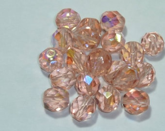 10 pearls 8mm Czech faceted champagne pink iridescent