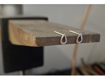 Tiny, Simple and Minimal - Sterling Silver Studs - Pear, Teardrop Earrings