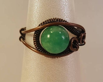 Aquamarine and Antiqued Copper Wire Wrapped Ring