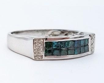 14K White Gold .72ct Fancy Blue Princess Cut Vintage Diamond Ring - Size 7