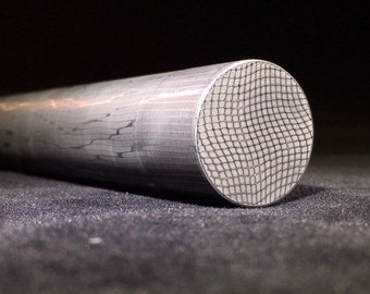 """1"""" Diameter, (1"""") One Inch Length Spirograph Pattern Stainless Damascus Round Rod"""