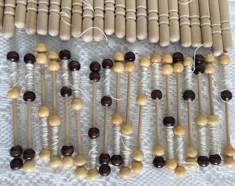 "Vintage Wood Bobbins Lace Spindles 5 1/2"" & 4 1/4"" Tall"