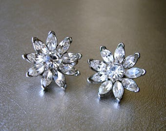 Trifari Marquis Rhinestone Flower Clip Back Earrings Wedding Bridal Formal Vintage Costume Jewelry Pageant Ballroom Prom Floral Flowers