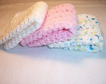 "Set of 3 Handmade Crocheted Dish Cloths,Kitchen Cloths - Baby Wash Cloths, Bath Cloths,Home and Living  100% Cotton - 7"" x 7"""