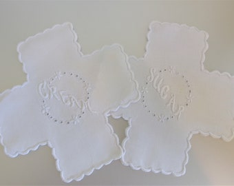 Vintage 1940's Cream & Sugar White Embroidered Kitchen Doilies  |  White Cream Sugar Doilies | Vintage Kitchen Linen  | Gift for Her