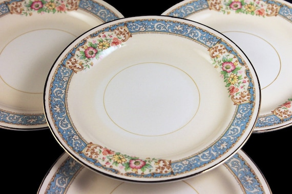 Bread and Butter Plates, Homer Laughlin, Blue Dawn, Eggshell Nautilus, Set of 4, Blue Border, Floral Pattern, Fine China
