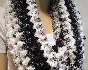 Black White and Gray Crochet Infinity Scarf, Crochet Scarf, Infinity Scarf, Black Infinity Scarf, Lightweight Scarf, Black and White Scarf