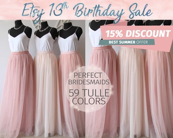 Bridesmaids Dress Tulle Skirt Long Floor Length Women's Tulle Skirt Women Tulle Skirt Wedding Long Blush Pink Ivory Tulle Dress