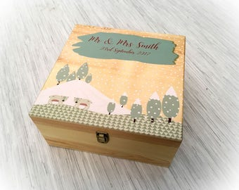 Personalised Skandi Style Winter Wedding Wooden Box - Gift Marriage - Snow