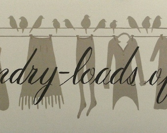 Laundry Room Art Print - Loads of Fun, birds on a wire clothesline. Graphic Silhouette style. Feminine attire Cream taupe black Donna Atkins