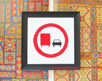 No Truck Passing Road Sign Cross Stitch Kit