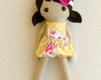 Fabric Doll Rag Doll 20 Inch Brown Haired Girl in Yellow Floral Bubble Romper with Stretchy, Bow Headband