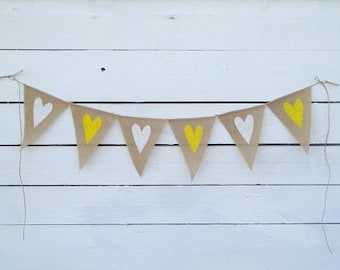 Burlap banner with white and yellow hearts