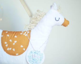 Stuffed Plush Pony tones orange mustard & white
