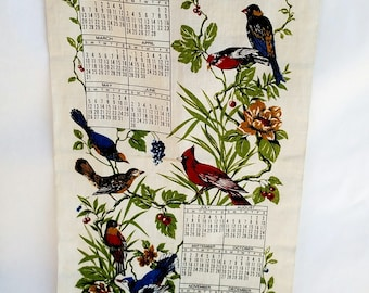 Vintage 1974 Linen Tea Towel Calendar with Colorful Birds on Flowering Branches