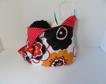 Knitting or crochet project pouch, reversible Japanese knot bag,  handy small purse, travel purse, bright Mod print