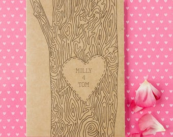 Personalised Tree Trunk Card, a romantic Anniversary card perfect for any occasion - wedding card - engagement card - valentine card