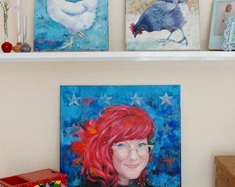 Custom portrait painting acrylic on canvas (50 x 50 cms) portrait from a photo