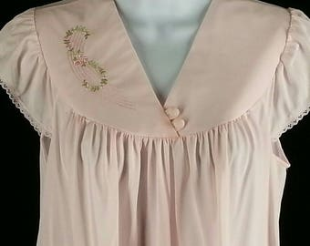 Vintage pink short nightgown night gown Shadowline size small s chest 38