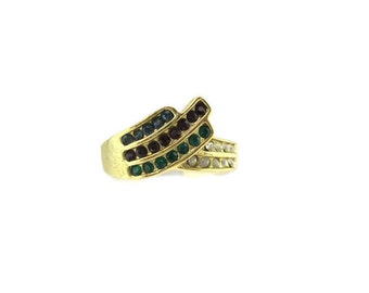 Vintage 14k HGE Gold Multistone Turban Austrian Crystal Cocktail Ring Size 10
