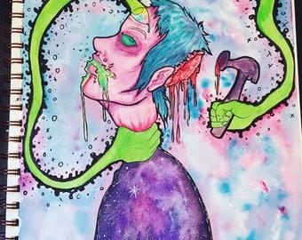"Original artwork 9""×12"" ""Victim of the mind"""