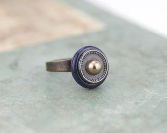 Vintage - genuine vintage buttons #1298 ring