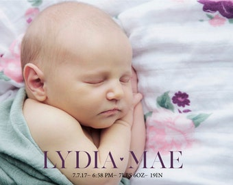Customizable Baby Birth Announcement Digital File