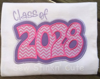 Machine Embroidered/Appliqued Class of 2028 Shirt
