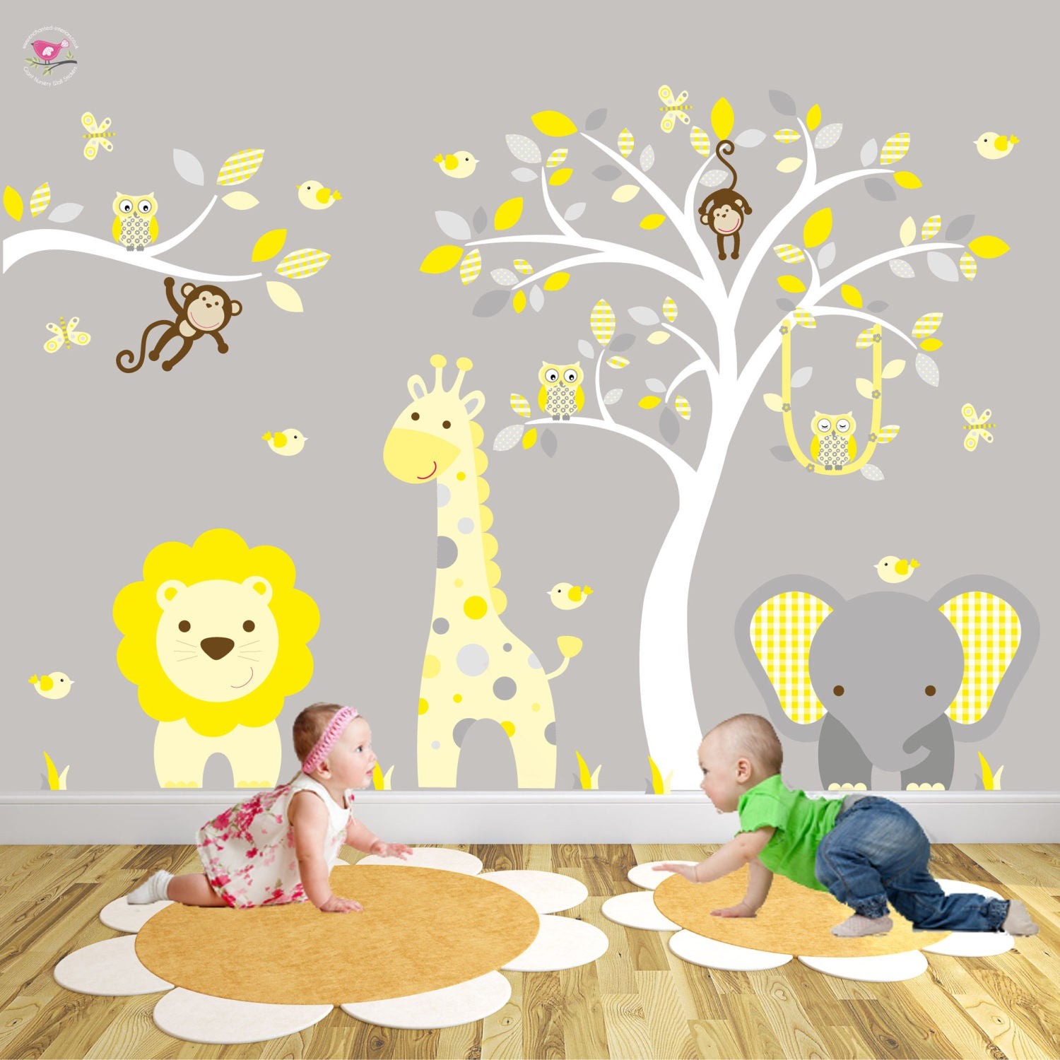 Jungle Nursery Wall Stickers Yellow and Grey Decals.