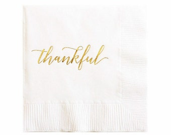 Thanksgiving Decor - Cocktail Napkins - Thankful