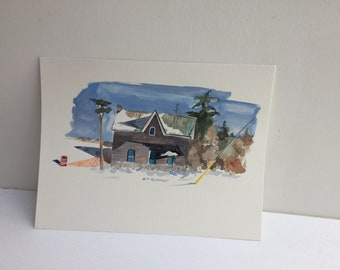 Abandoned house original in Gouache