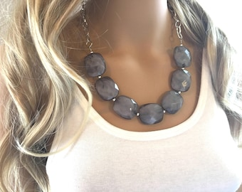 Gray Statement Necklace & Earrings, Gray jewelry, Your Choice GOLD or SILVER, smoky gray bib chunky necklace, gray geometric necklace