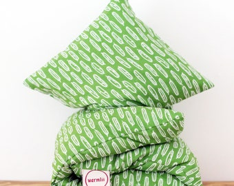 """Cherry Stone Pillow """"Leafy Green"""" - Organic / Ecofriendly / Natural / Reusable / Heat Pack / Heating Pad / Heat Bag /  HotCold Pack"""