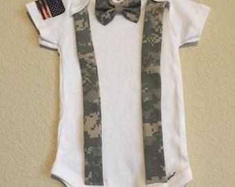 US Military Bow tie Onesie