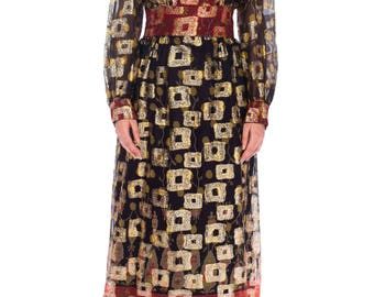 1970s Metallic Jacquard Dress Size: S