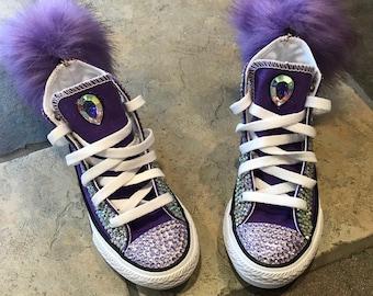 Custom Purple Fur Ball Converse