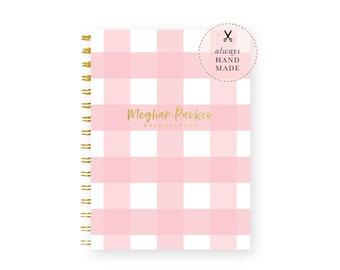 Weekly Planner Personalized – Dateless Planner Spiral Bound and in Your Choice of 24 Color Combinations, Gingham Planner A5
