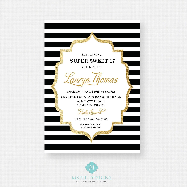 Sweet Sixteen Invitation, Sweet 16 Invitation, 16th birthday ...
