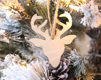 Reindeer Ornament   Farmhouse Christmas Ornament   Wood Ornament   Free Shipping