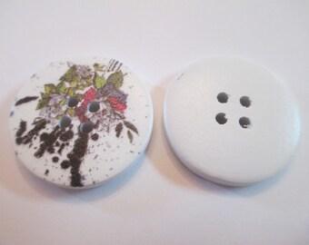 5 Flower Splattered Wooden Buttons Sewing Craft Supplies