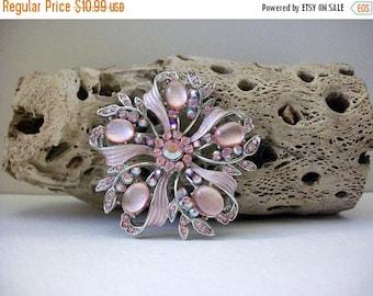 ON SALE Retro Silver Tone Floral Burst Pink Glass Rhinestones Pin 8616