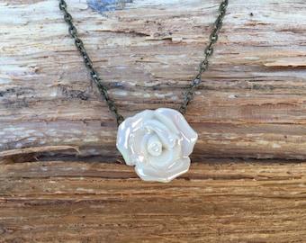 White Ceramic Rose Necklace Choker Bronze