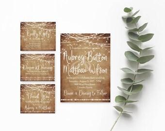 Rustic Wedding Invitation Template- Wedding Invites- Country Wedding Invitations-Rustic Wedding Suite-Boho Wedding Invitation-String Lights