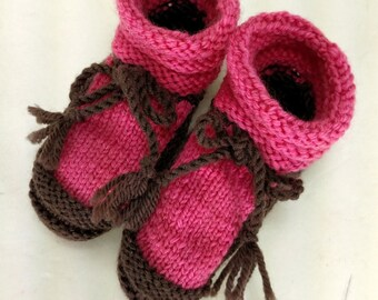 Hand Knit Baby Booties Slippers Crib Shoes Pink and Brown Soft Baby Cotton